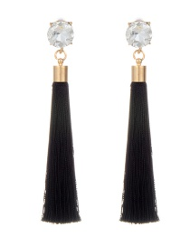 Bohemia Blak Tassel Decorated Earrings