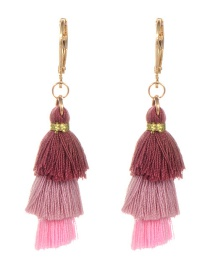 Fashion Pink Tassel Decorated Umbrella Shape Earrings