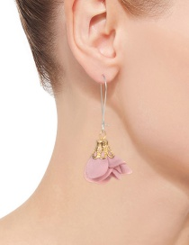 Fashion Pink Flower Shape Decorated Simple Earrings