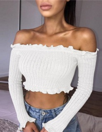 Fashion White Pure Color Decorated Short Blouse