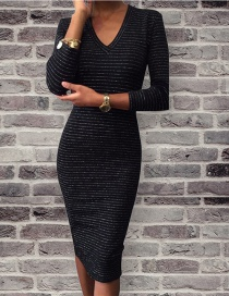 Fashion Black V-neckline Decorated Long Dress