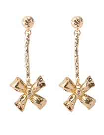 Elegant Gold Color Bowknot Shape Decorated Earrings