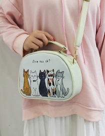 Elegant White Cartoon Cats Decorated Mini Shoulder Bag