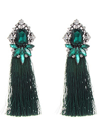Fashion Green Sqaure Shape Diamond Decorated Tassel Earrings