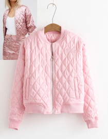 Fashion Pink Letter Decorated Pure Color Jacket