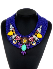 Bohemia Dark Purple Hand-woven Decorated Necklace
