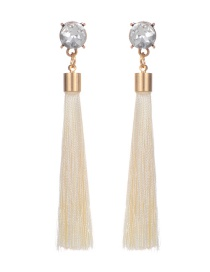 Fashion Beige Long Tassel Decorated Pure Color Earrings