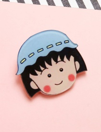 Lovely Blue+black Chibi Maruko-chan Decorated Brooch