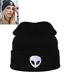 Lovely Black Alien Pattern Decorated Pure Color Cap
