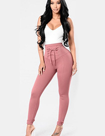 Fashion Pink Pure Color Decorated Trousers