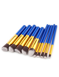 Fashion Blue Pure Color Decorated Makeup Brush (10 Pcs )