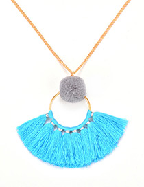 Fashion Blue Tassel Decorated Pom Necklace