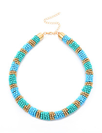 Fashion Blue Color Matching Decorated Necklace