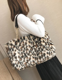 Trendy Coffee Leopard Pattern Decorated Handbag