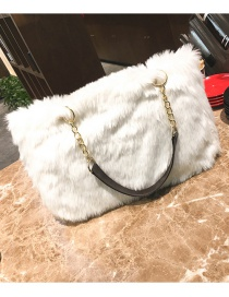 Trendy White Pure Color Decorated Square Shape Handbag