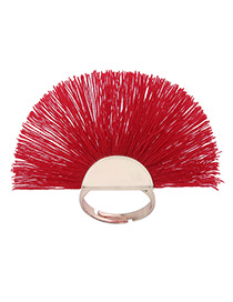 Fashion Red Tassel Decorated Sector Shape Ring