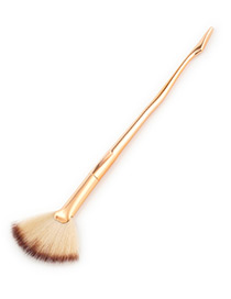 Fashion Gold Color Sector Shape Decorated Makeup Brush(1pc)