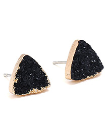 Fashion Black Triangel Shape Decorated Pure Color Earrings