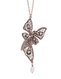 Fashion Antique Gold Butterfly Shape Decorated Hollow Out Necklace