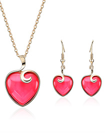 Fashion Plum Red Heart Shape Design Pure Color Jewelry Sets