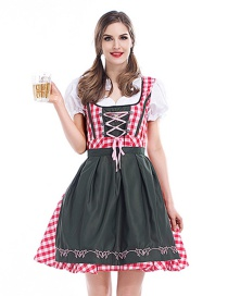 Fashion Pink+olive Green Grid Pattern Decorated Dress(with Dress and apron)