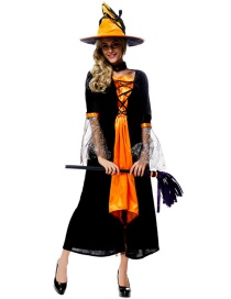Fashion Black+yellow Pure Color Decorated Cosplay Costume(with dress,hat,choker)