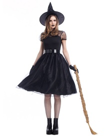 Fashion Black Pure Color Decorated Cosplay Costume(with  Hat , dress, belt, gloves)