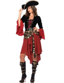 Fashion Red Skull Pattern Decorated Cosplay Costume(Hat, dress ,belt)