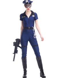 Fashion Blue Pure Color Decorated Cosplay Costume(without Glasses,gun, shoes)