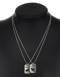 Fashion Silver Color Letter&horse Pattern Decorated Necklace ( 2 Pcs )
