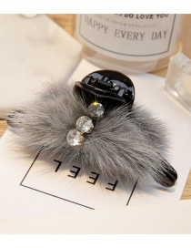 Fashion Gray Fuzzy Ball Decorated Hair Clip