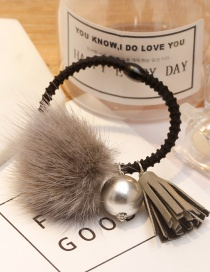 Lovely Gray Fuzzy Ball Decorated Tassel Hair Clip