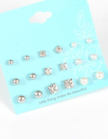 Fashion Silver Color Pearls&diamond Decorated Earrings(9pcs)