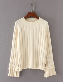 Fashion Beige Pure Color Decorated Flare Sleeve Sweater