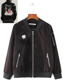 Fashion Black Pure Color Decorated Long Sleeve Jacket