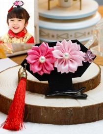 Lovely Pink Tassel&flower Decorated Hairpin(1pc)