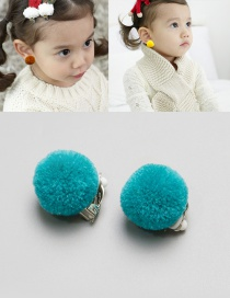 Fashion Blue Fuzzy Balls Decorated Children Earrings