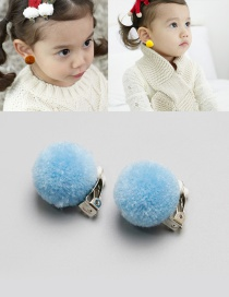 Fashion Light Blue Fuzzy Balls Decorated Children Earrings