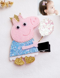 Lovely Blue Pig&balloon Decorated Hairpin