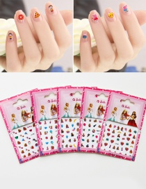 Lovely Multi-color Cartoon Pattern Decorated Non-toxic Child Nail Sticker(5pcs Randomly)