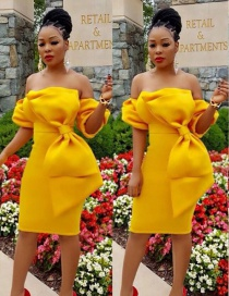 Sweet Yellow Bowknot Design Pure Color Off-the-shoulder Dress