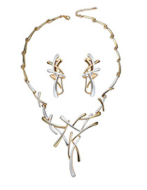 Fashion Gold Color Metal Strips Decorated Pure Color Jewelry Sets