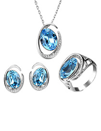 Fashion Blue Geometric Shape Design Hollow Out Jewelry Sets