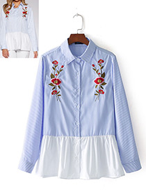 Fashion White+blue Flower Pattern Decorated Embroidery Shirt