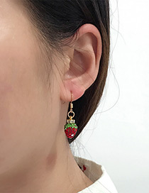 Fashion Red Strawberry Pendant Decorated Earrings