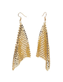 Trendy Gold Color Sequins Decorated Square Shape Earrings