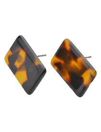 Vintage Brown Square Shape Decorated Earrings