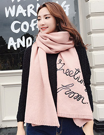 Trendy Pink Letter Pattern Decorated Thicken Dual Use Scarf
