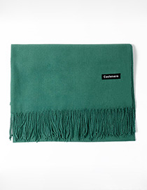 Trendy Dark Green Tassel Decorated Pure Color Scarf