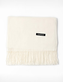 Trendy Milk White Tassel Decorated Pure Color Scarf